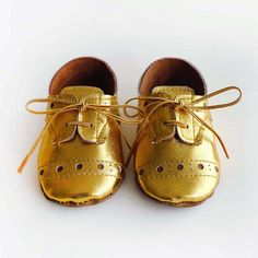 Baby Girl or Boy Shoes Gold leather Soft Sole Shoes by ajalor, $35.00
