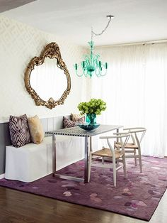 slipcovered banquette