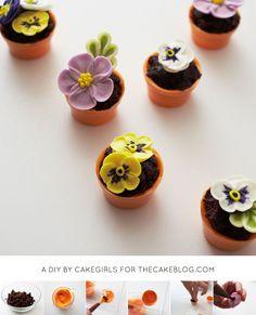 Teeny Tiny Flower Pot Cakes   Cake Tutorial by Cakegirls for TheCakeBlog.com