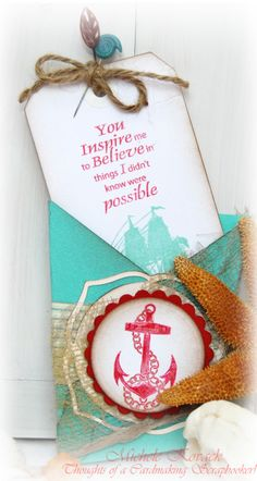 Uses the JustRite Anchor's Away set. The card shape was cut with the Cricut and the Wild Card Cartridge.