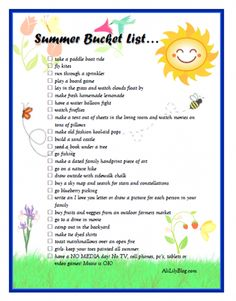 Summer Bucket List, I know this is probably for families and kids but some of it sounds fun :)