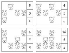 Three Bill Goats Gruff Count & Clip Cards *Common Core Aligned*  There are 12 clip cards. On each card is a set of pictures to count and a choice of three numerals. Learners count the pictures in the set and clip a clothespin to the numeral that corresponds with the number of pictures in the set.  Common Core Standards: CC.K.B.4 CC.K.B.4a CC.K.B.4b CC.K.B.4c CC.K.B.5