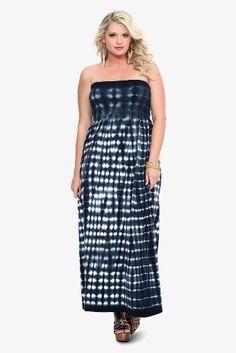 Amazon.com: Torrid Plus Size Black & White Tie Dye Smocked Strapless Maxi Dress: Clothing