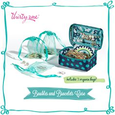 Packing jewelry in your suitcase can often be a challenge. The Baubles & Bracelets Case will keep all your favorite pieces of jewelry – from earrings to bracelets – perfectly organized! www.mythirtyone.com/emilychambers