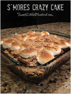 S'mores Crazy Cake - Fun and delicious summer treat!    |  SweetLittleBluebird.com