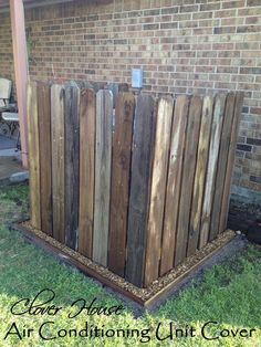 Fence Picket A/C Unit Cover. Something like this to hide garbage cans would be awesome! Clovers House, Fences Picket, Ac Covers, United Covers, Outdoor, Gardens, A C United, Air Conditioning, Picket A C