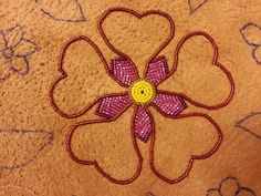 Athabascan beadwork by Brenda Mahan from Galena, Alaska-work in progress on moose hide, 1/7/14