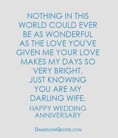 http://dandelionquotes.com/nothing-in-this-world-could-ever-be-as-wonderful-as-the-love Nothing in this world could ever be as wonderful as the love you've given me your love makes my days so very bright, just knowing you are my darling wife. Happy Wedding Anniversary