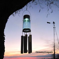 Mason Jar Windchime Light Solar Upcycled Garden by treasureagain  http://etsy.me/10e2QEw