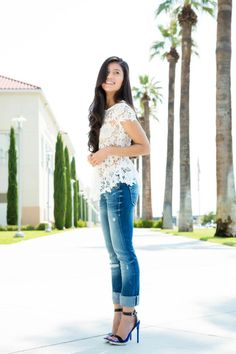 lace peplum top, blue jeans, and a good pair of heels