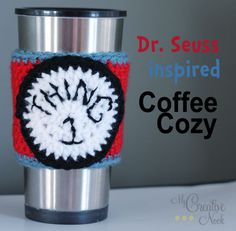 Dr. Seuss inspired crochet coffee cozy. Thing 1 - Cat In The Hat via http://mycreativenook.com