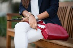 Navy blazer and white jeans