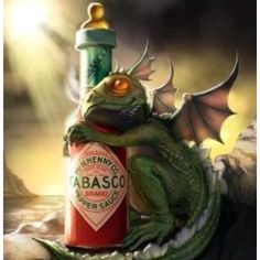 Cute baby dragon and his bottle