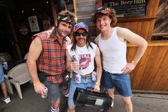 There are a bunch of pics from a white trash bash on this site that may give wardrobe inspiration for the party...