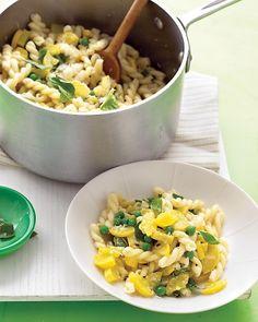 yellow squash, peas and basil pasta with parmesan and lemon.