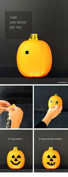 Make Halloween Countdown Pumpkins | Add one sticker per day all month long to create a jack-o-larntern | Willowday
