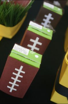 "Football party - wrap drink boxes in paper with ""laces"" to look like footballs. bowl, birthday parties, juic box, football parties, game, sport party, football foods, parties kids, football birthday"