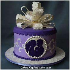 Lilac and Lace Bridal Wedding Shower Cake  by Cakes.KeyArtStudio.com, via Flickr