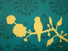 yellow bird on teal damask background