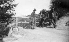Civilian Conservation Corps in Colorado - Lookout Mountain Park, Camp SP10C, Guardrail on Trail created by enrollees, 1936ca