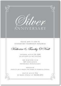 Invitation for 25th anniversary party invitationswedd elegant 25th wedding anniversary party invitations 25 stopboris Image collections