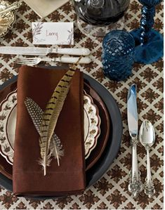 Thanksgiving Table Settings - and I have the pheasant feathers to do this!