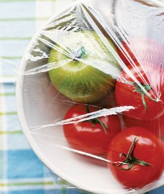 To ripen tomatoes in half the time, place them in a bowl with an apple or two and cover it with plastic wrap.