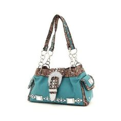 Turquoise Western Crocodile Rhinestone Buckle Chain Handle Handbag ($1) found on Polyvore