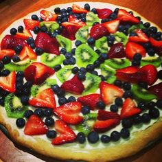 Fruit pizza:  spray round pizza pan with cooking spray, roll out pre-made sugar cookie dough, cook on 375 for 15 mins.  Combine 8 oz cream cheese, 1/4 c sugar, 1/2 t vanilla.  Spread on cooled cookie.  Cut any fruit on top.