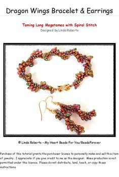 *P Beading Tutorial - Dragon Wings Bracelet and Earrings Pattern