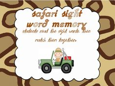 FREE Safari Sight Word Center  www.teacherstreasurechest.blogspot.com