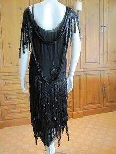 "~Chanel rare 1924 Ribbon dress Met Exhibit/Catalogue label "" Gabriel Chanel ""~  What a dress!"