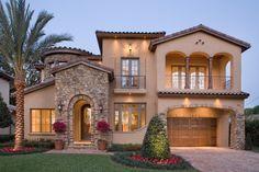 Mediterranean style house plan with interior court.  Plan 135-166.