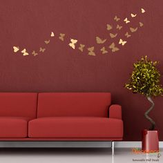 FREE Shipping - Flock of 24 Butterflies Wall Decals (Choose 2 Colors) - Removable Butterfly Wall Decal - Stickers for Large Wall (SKU094). $29.00, via Etsy.