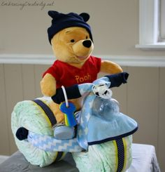 Winnie the Pooh Diaper Bike - Baby shower decoration and gift in one!