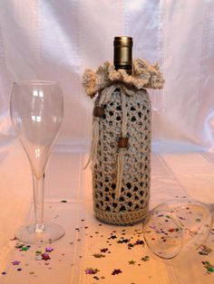 SALE  Crochet Beige Wine Bottle Cover With by CraftyCreationsByC, $4.00