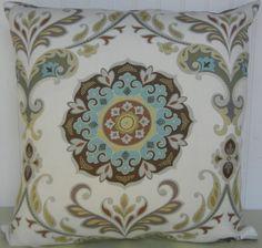 Blue Brown White Suzani Pillow Cover 20 x 20 Decorative Pillow Cover  Throw Pillow Yellow Aqua Green Grey