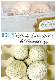 Wooden Easter Basket and DIY Newsprint Eggs... see how they are made!  www.homeroad.net