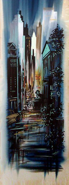 Vintage TALL 1950s Mid Century Watercolor by ThreeStepsAhead