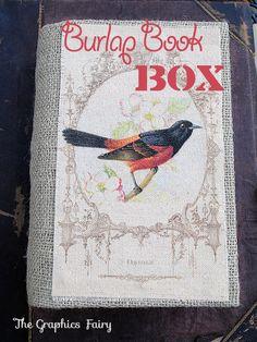 Burlap Book Box - Graphics Fairy