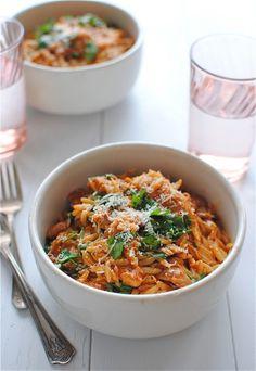 Fire-Roasted Tomato Chicken Pasta via Bev Cooks