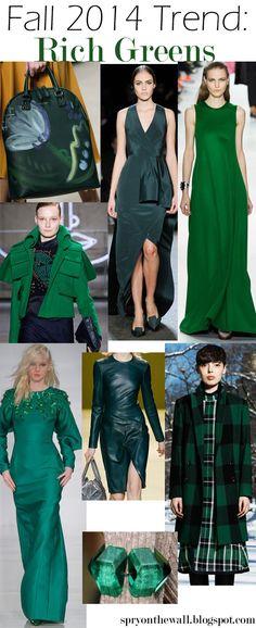 Fall 2014 Trend - Emerald Green, Rich Green, #greenfallcolortrends,