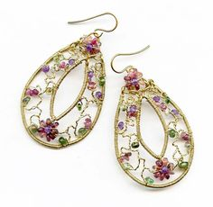 Twisted Wire Floral Earrings