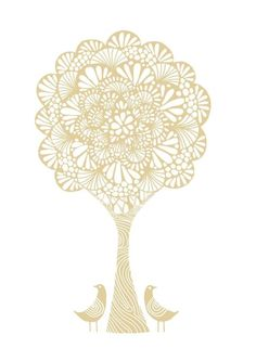 Birds and tree...giclee art print