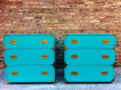 Turquoise Campaign Chests--I have a pair of brown veneered chests, what color should I paint them?