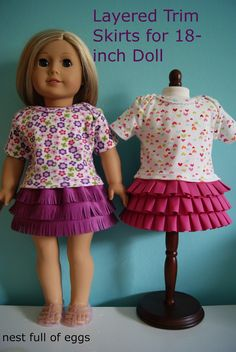 Layered trim skirts for 18-inch doll by nest full of eggs