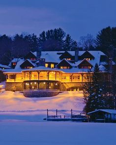 The #lovely Lake Placid Lodge, Lake Placid, New York, in winter. Everything looks nicer with a healthy dusting of #snow...  #LoveLakePlacidLodge