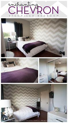 Gorgeous Chevron stenciled bedroom idea uses the Cutting Edge Stencils new chevron stencil design.  www.cuttingedgestencils.com