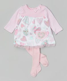 Love this Pink Hearts Babydoll Dress & Tights by Happi by Dena on #zulily! #zulilyfinds