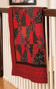 Fabulous fabric play results in a fantastic quilt, Scrappy Hunters Star. Red and black took on a starry role when Liz Porter juxtaposed these two strong colors. This quilt is Fat Quarter Friendly.